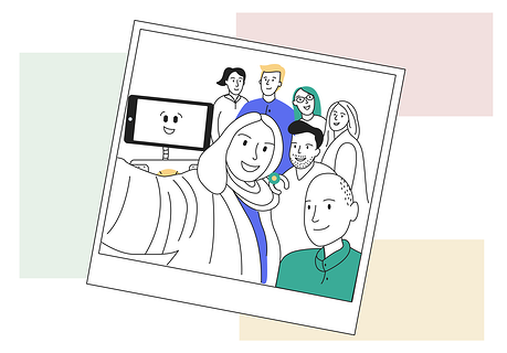 How to create a happy company - illustration of a group selfie