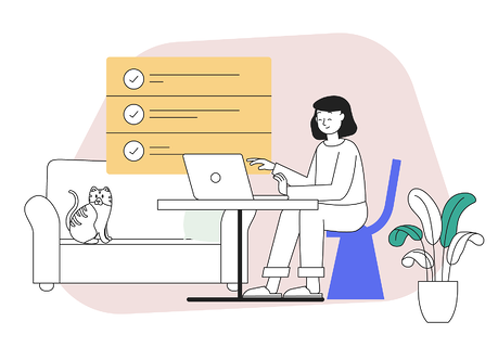 The best tools and resources for working from home - illustrated image of a homeworker at her desk with a laptop and a cute cat on a sofa in the background. There is a list of remote working links at the top of the image.