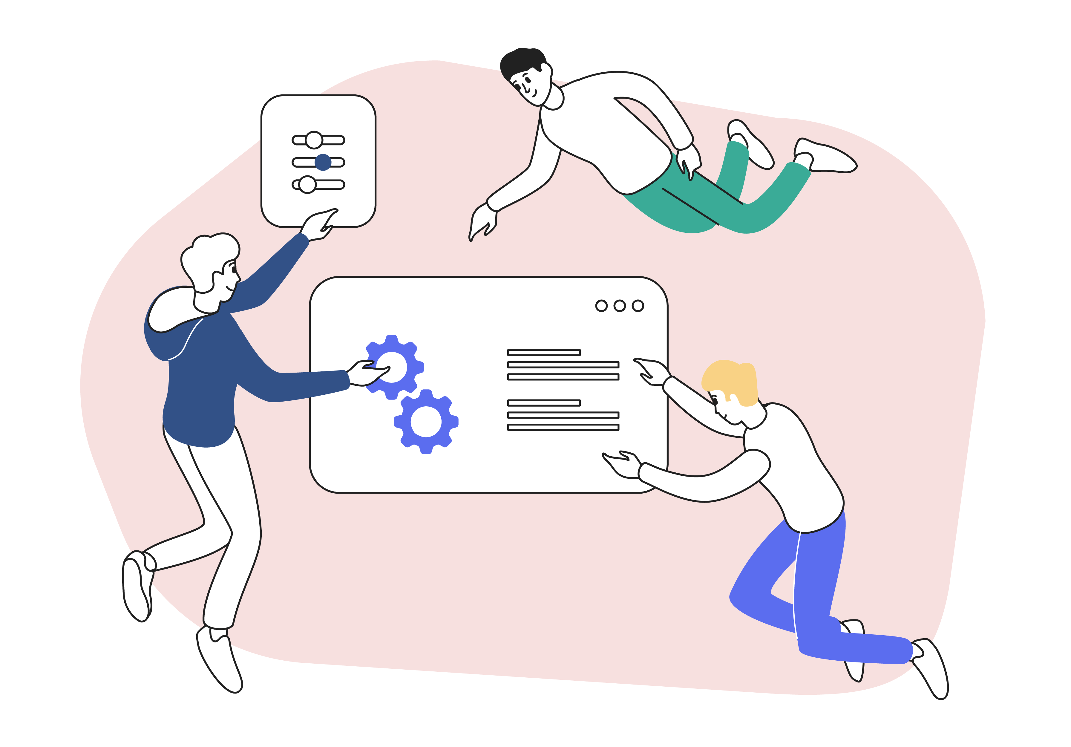 3 people floating (image for essental steps for creating PPC campaigns)