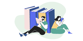 How to write killer copy for your website - two figures reading beside large binders