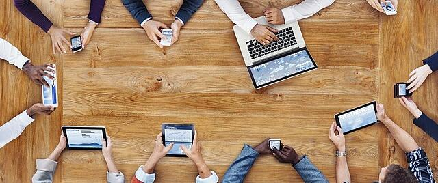humanising B2B content - laptops on table