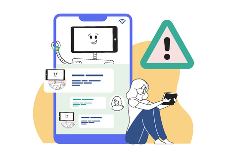 HubSpot chatbot considered harmful: results from Articulate's experiment with website chat - illustration of Arty the robot waving from a chat screen with a person beside him and a big warning sign