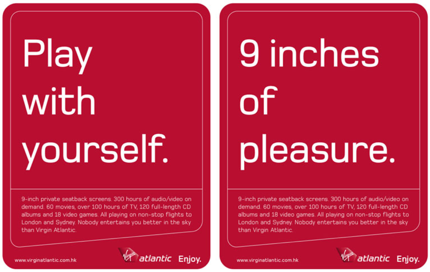 Saucy Virgin Atlantic ads saying '9 inches of pleasure' and 'Play with yourself''