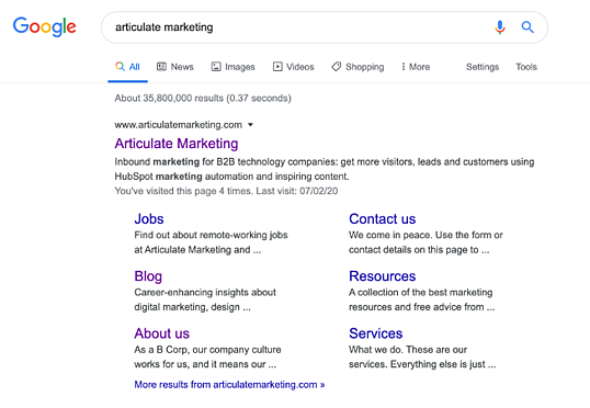 Articulate Marketing rich snippet