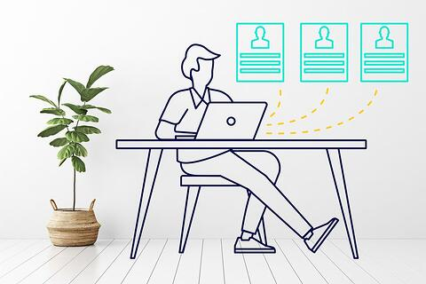Articulate illustration showing someone sitting at a desk with a computer