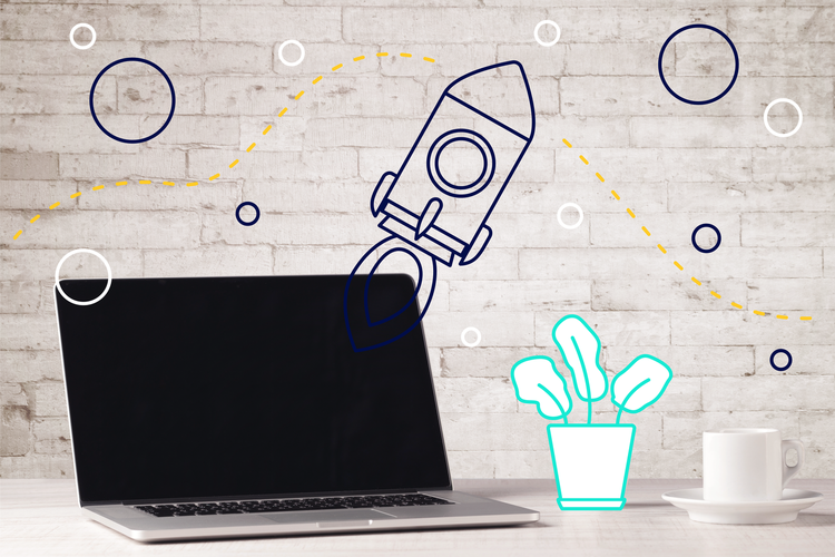 Illustration of a laptop and a rocket ship - how to pick stock photography that doesn't suck by Articulate Marketing