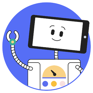 Articulate illustration of a robot with a tablet device as a head