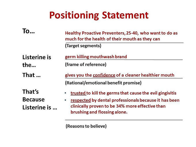 Essential ingredients for any marketing plan - positioning statement