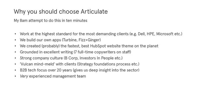 Essential ingredients for any marketing plan - why you should choose articulate