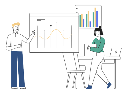 Illustration of people talking about graphs, symbolising the appointment of a new CFO