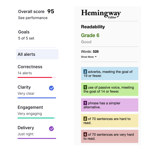 Grammarly and hemingway readability score screenshot