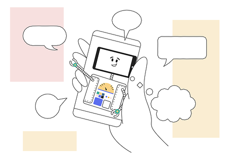 Illustration of a mobile device with message, comment and chat clouds surrounding it to demonstrate community and communication