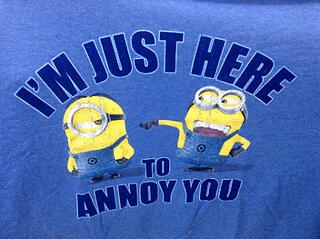 Social media automation: two Minions with the words 'I'm just here to annoy you'
