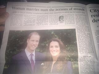 Newspaper headline 'woman marries man she accuses of assault' above picture of some stupid royals who got married recently, I think
