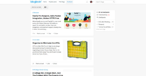 Bloglovin reader screenshot