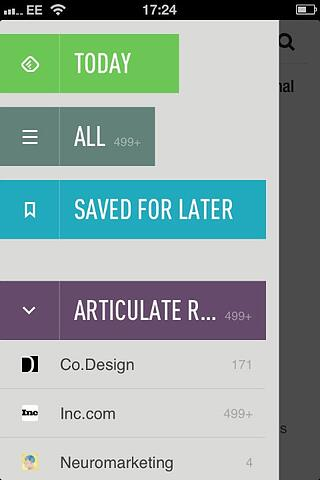 Feedly app menu
