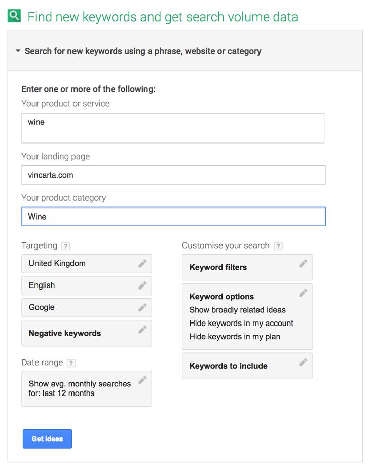 Google Keyword Planner Tool for SEO keyword research