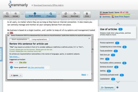 Grammarly review screenshot