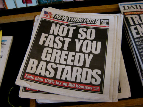 Great headlines: 'Not so fast you greedy bastards'
