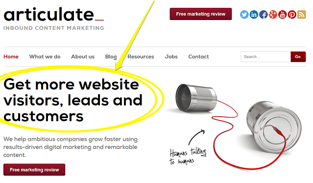 How to make a good first impression on website visitors. Image shows the front page of our website. We've highlighted the words: 'Get more website visitors, leads and customers'.