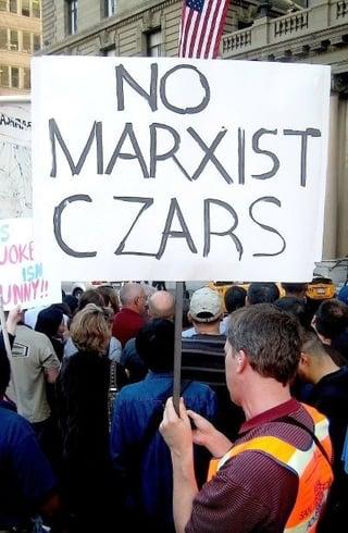 Tea party sign saying ' no marxist czars'