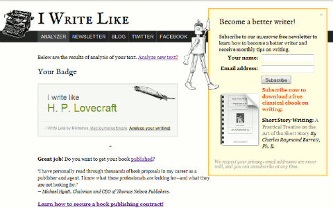 5 fun things for writers to geek out over: a screenshot from IWriteLike showing the user's result - H.P. Lovecraft