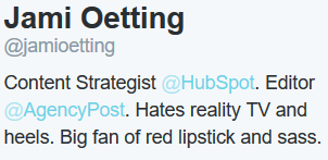 10 writing tips to standing out with your personal social media bios. Here's a good example.
