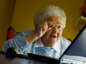 Keep readers interested online - old woman squinting at laptop