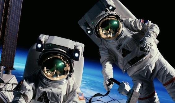 Pair writing astronauts