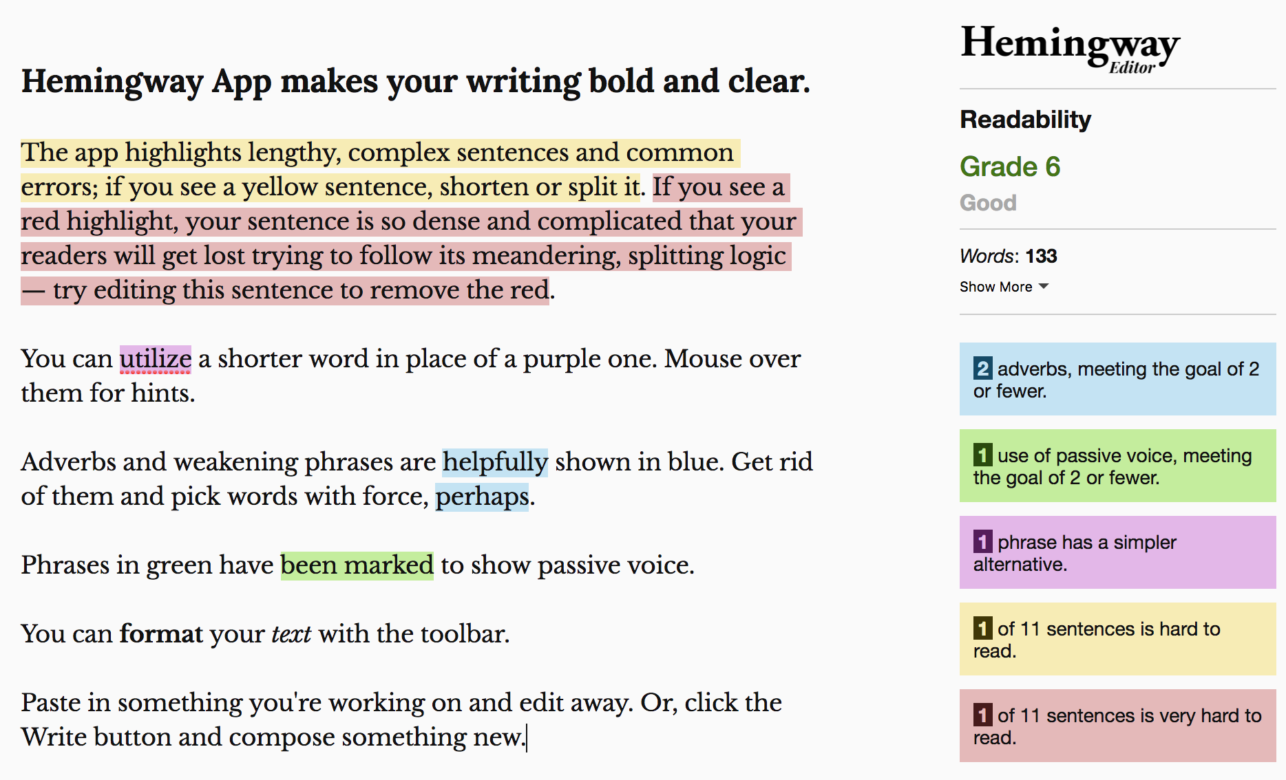 Check your SEO readability using the Hemingway App