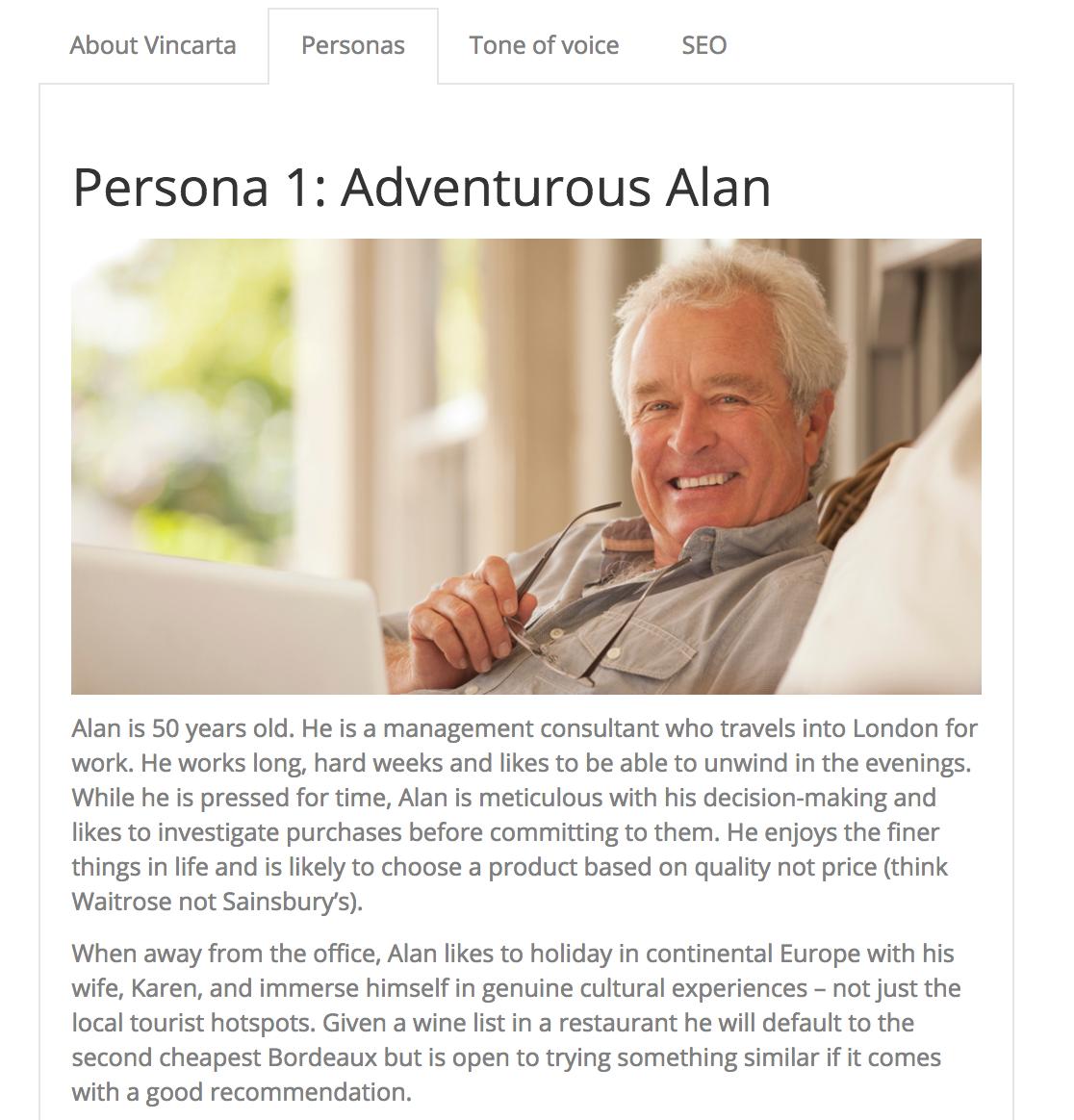 Adventurous Alan persona for Vincarta