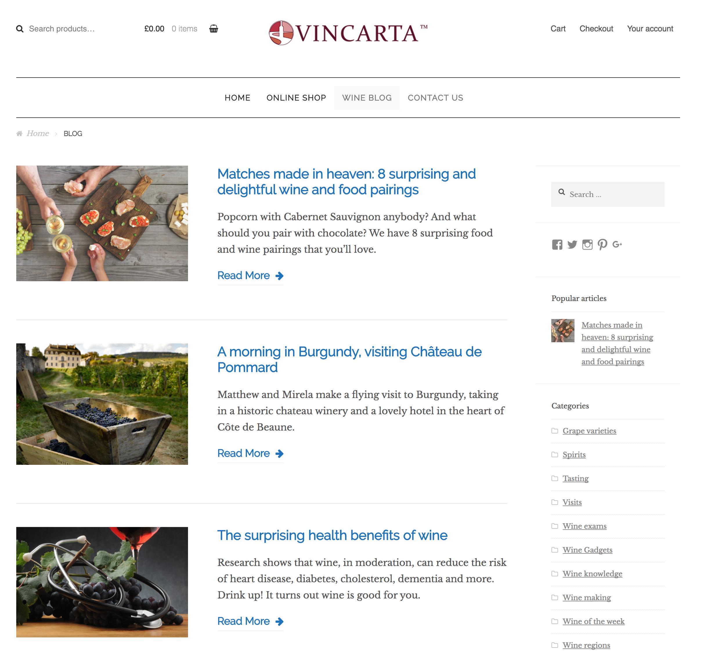Vincarta wine website screenshot