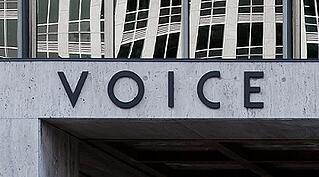 writing an About us page: Voice on a building