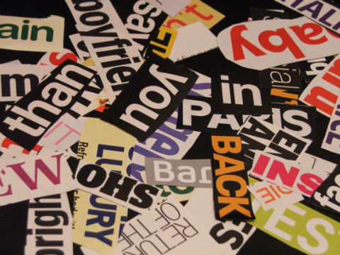 Collage of words – persuasive words