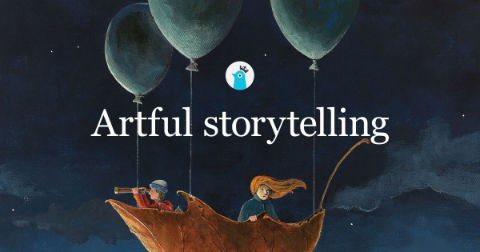 5 fun things for writers to geek out over: a Storybird artwork showing two people sailing on a leaf propelled by balloons