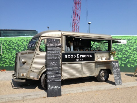 Good and Proper Tea's Watson van at Kings Cross funded by Kickstarter