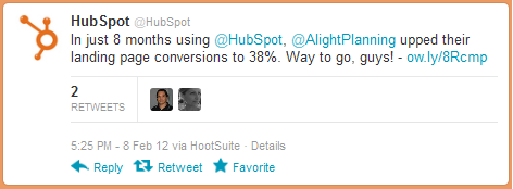 Hubspot customer-tweet