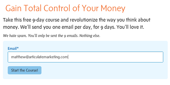 You Need a Budget screenshot with email content marketing signup