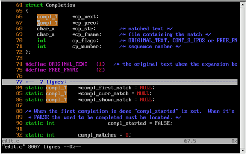 Screenshot of VIM