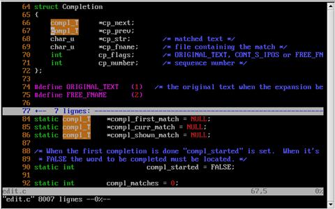 Screenshot of VIM