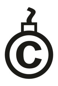 Copyright symbol turned into an old-fashioned bomb with a fuse - trademark guidelines