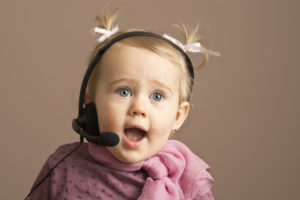 Child wearing headset: communication as new client account manager