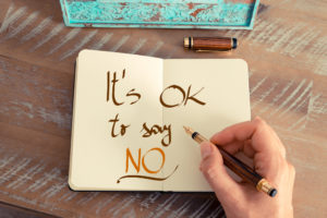 It's ok to say no written in notebook