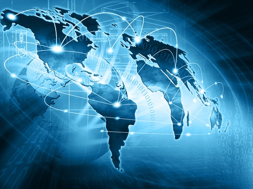 Image representing the internet over a map of the world