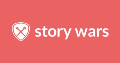 5 fun things for writers to geek out over: the Storywars logo on a pink background