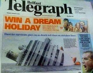 'Win a dream holiday' ad above picture of sinking cruise ship on newspaper cover