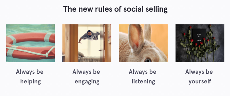 LinkedIn social selling profile - rules of social selling images with text 'Always be helping', 'Always be engaging', 'Always be listening', 'Always be yourself'