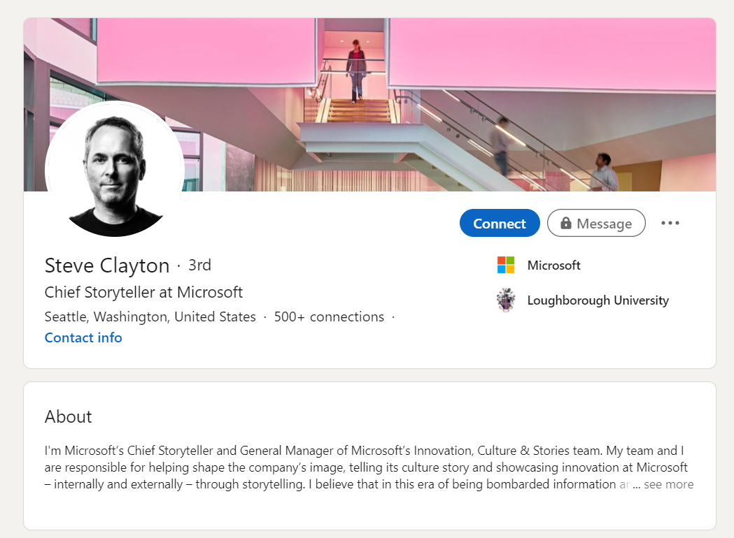 LinkedIn social selling profile 4 - Steve Clayton
