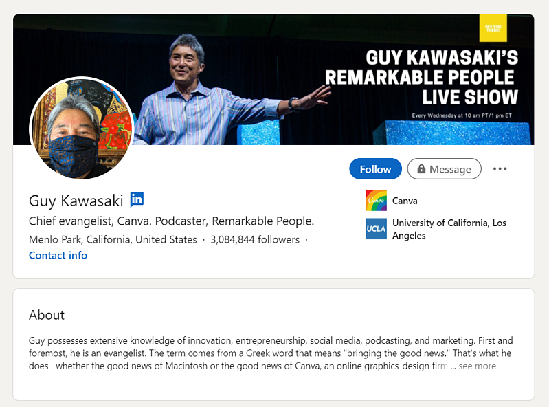 LinkedIn social selling profile 5 - Guy Kawasaki