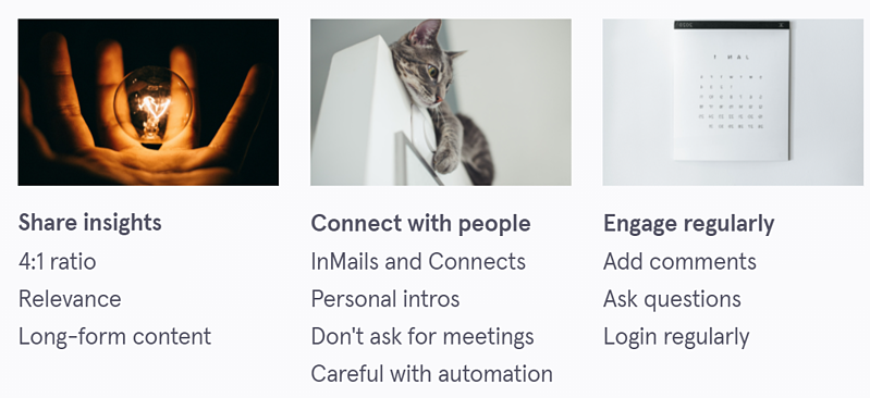 LinkedIn social selling profile 7 - share insights, connect with people, engage regularly images of a hand with a globe, a kitten and a calendar.
